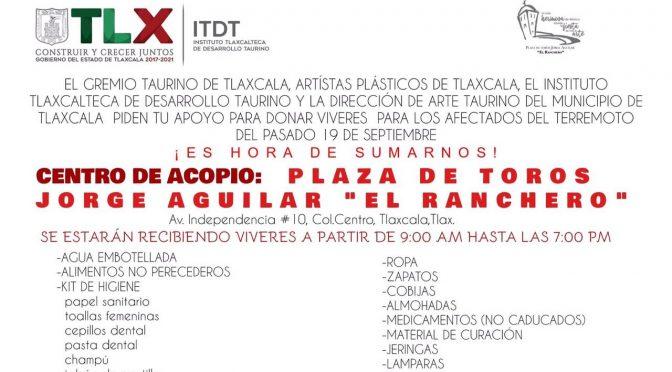 Abren centro de acopio en la Plaza de Toros de Tlaxcala